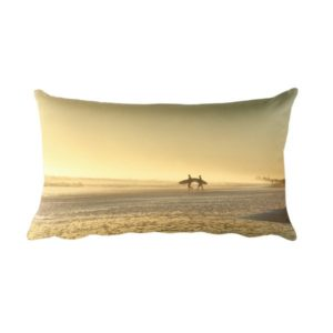 Surfers at Dawn Pillow Front